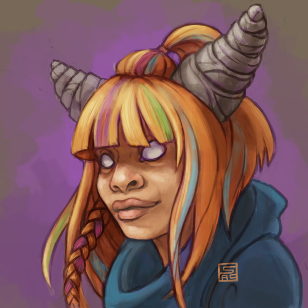 Digital painting of Eureeka from Eureeka's Castle. A young girl in a blue robe and colorful hair. She has horns.