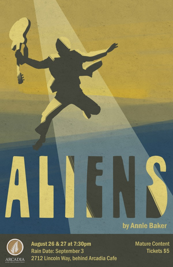 A poster for Aliens, in a blue and yellow color scheme. The silhouette of a man seems to be rising or falling in a spotlight