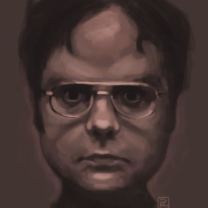Monotone portrait of Dwight Schrute, a man with short hair, glasses, and a determined expression.