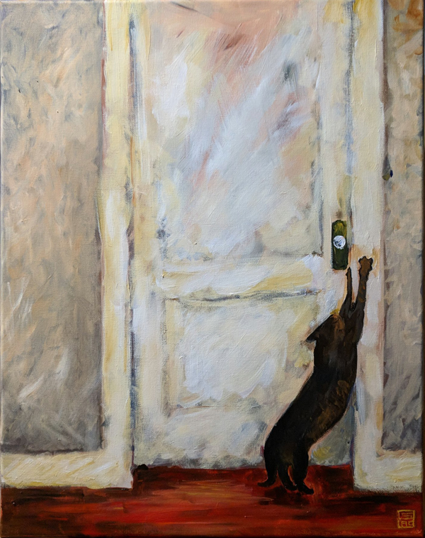 Acrylic painting of my cat stretching up against my white bedroom door frame.