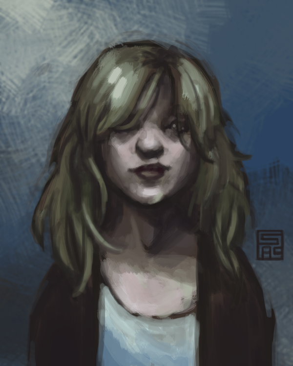 Digital painting of a young white girl with shaggy blonde hair. Everything is tinged blue and her face is in shadow.