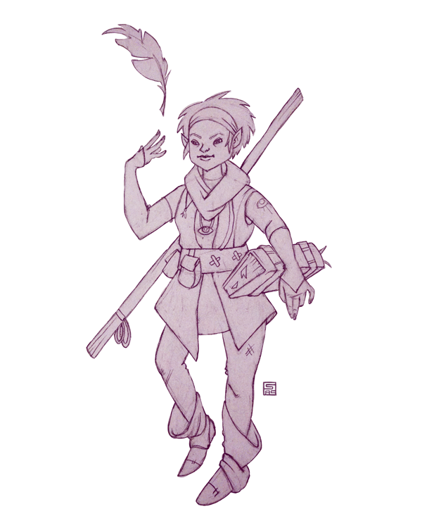 Pencil sketch of a woman elf wizard character. She levitates a quill from her finger.