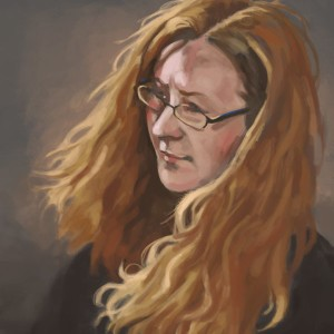 Portrait of a woman with long red hair blowing in the wind.