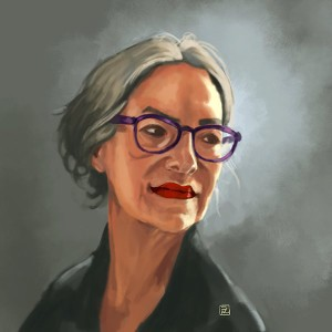 Portrait of an older woman with purple glasses, grey hair, and sun on her face.