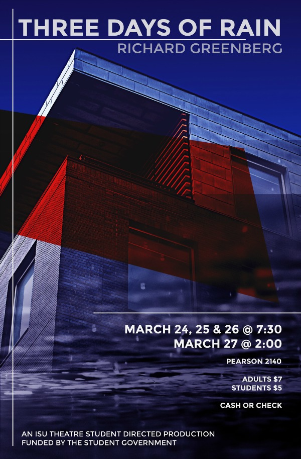 Poster for 3 Days of Summer. Photograph of a modern building with overlays of blue, rain puddles, and a bright red streak.